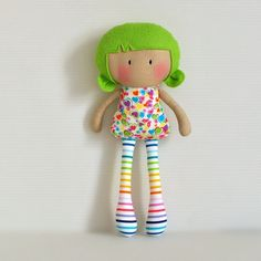 """I love the green hair, tan skin, and bright colors on this My Teeny-Tony Doll from Cook You Some Noodles.  My Teeny-Tiny Dolls® are 11"""" Handmade Fashion Dolls made from cotton and wool blend felt fabrics."""