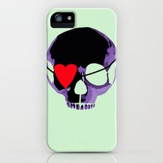 Purple skull with eyepatch iPhone case