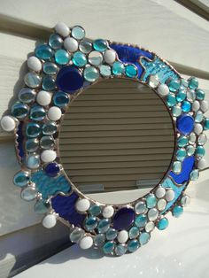 Abstract Stained Glass Blue Nuggets Mirror by HelioGlass on Etsy, $60.00