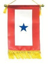 """Service Flag - One Blue Star by Service Pride. $13.50. Blue Star. Service Flag. Military. Blue Service Star Flag commemorates the men and women who are serving or have served. *Dimensions: 8.5"""" x 15"""" *Wooden Dowel Rod with nylon cord for hanging or displaying. *Polyester sheen fabric *Nylon Fringe along the bottom edge for an attractive finished look."""