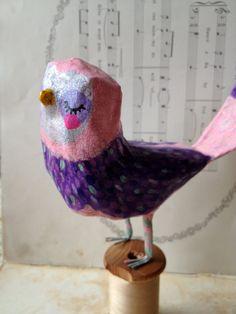 Purple & Pink Birdie  paper mache bird by heartsandneedles on Etsy
