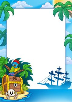 Kids Background, Cartoon Background, Pirate Birthday, Pirate Theme, Summer Camp Themes, Boarder Designs, Book And Frame, Photo Frame Design, School Frame