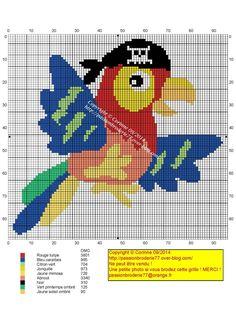 Perroquet pirate Cross Stitch Bird, Cross Stitch Charts, Cross Stitch Designs, Cross Stitching, Cross Stitch Embroidery, Cross Stitch Patterns, Pirate Cartoon, Pirate Parrot, Broderie Simple