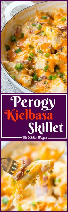 Perogy Kielbasa Skillet Dinner. If you love perogies, this easy dinner is for you! Cook up onions, perogies and kielbasa in one skillet with a creamy sauce and dinner is served! Recipe from @kitchenmagpie #dinner #perogies #recipe