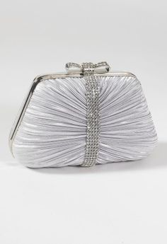Pleated Satin Bow Top Closure Handbag from Camille La Vie and Group USA prom clutch