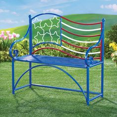 This festive and patriotic bench is a great way to celebrate your patriotism all year long! Red, white and blue bench has a stars & stripes design on Cast Iron Garden Bench, Iron Bench, Outdoor Chairs, Outdoor Furniture, Outdoor Decor, Collections Etc, Patriotic Decorations, Stripes Design, Red White Blue