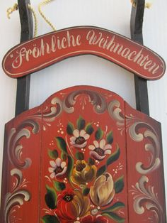 German Bauernmalerei on a Red and Black Wooden by Folkartbycathy