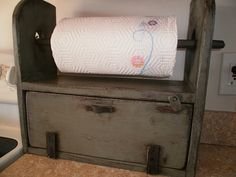 Paper Towel Holder with Bread Box by PRIMITIVEPASSIONS on Etsy, $45.00