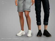 [sims4cc]-Men's Leather sneakers -3 colors -Everyday/Athletic -Custom thumbnail -Base game Sims 4 Men Clothing, Sims 4 Male Clothes, Men Clothes, Studded Leather, Leather Men, Leather Ankle Boots, Leather Sneakers, Sims 4 Collections, Sims 4 Cc Shoes