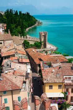 View over the rooftops at Lake Garda, Italy