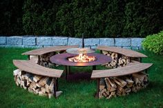 Feuerstelle-Outdoor-Model-Circle-Set-mit-Grill-und-4-Bnken-in-Edelrost-0