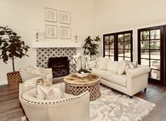 Silverton living room with painted cement tiles on fireplace, custom mantel and french oak flooring Oak Flooring, Cement Tiles, French Oak, Local Real Estate, Staging, Vignettes, Throw Pillows, Living Room, Bed