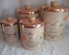 Vintage Canister Set Hand Painted Ransburg Copper by VivaVera, $44.00