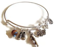 Adjustable Bangle Charm Bracelet. Alex and Ani Inspired Bracelet. Running  by riversedgecreations. Explore more products on http://riversedgecreations.etsy.com