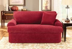 For a custom-fit look: Three piece t-cushion slipcover for furniture with loose back and seat cushions. Zipper closure makes it easy to remove for machine washing.