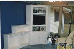 """Corner TV Cabinet & Display Shelf...in our bright white collection was designed and handcrafted by Stan & Karen Doty """"Doty's Primitive Porch"""" where we make more than just primitives!"""