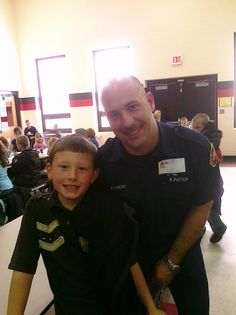 Matt and Uncle Richard have lunch on HEROS day at school.