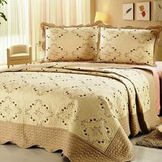 Found it at Wayfair - Embroidery Microfiber 3 Piece Quilt Set