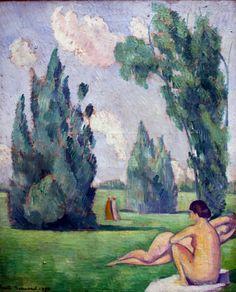 Emile Bernard. 1868-1941 Paris. Nude in a landscape. Valenciennes.