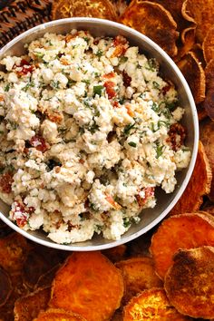 """Baked Sweet Potato """"Crackers"""" with Sun-dried Tomato Goat Cheese"""