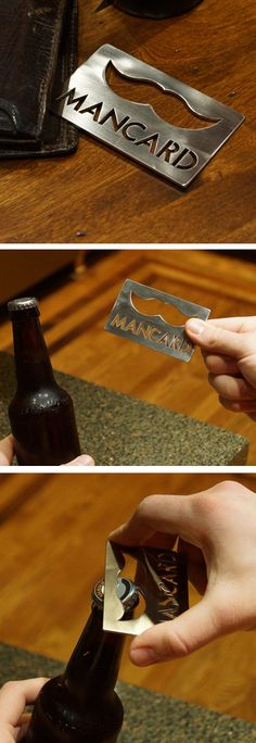 Plasma cutter idea: The Man Card // super slim bottle opener - fits in your wallet! Extra mini-gift for groomsmen.