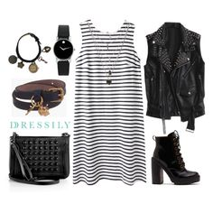 This is a great outfit for casual days! Turn it up a notch by wearing a leather vest, heeled boots and matching accessories, sticking to the black-and-white monochrome palette. Strut with confidence and rock this look! dressi.ly #stripes #rock #chic #streetstyle #rocker