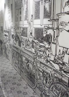 Black Marker Wall Drawing by Charlotte Mann