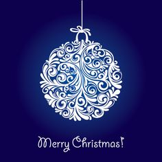 Christmas Ball Vector Graphic   Merry Christmas Dark Blue Stylized