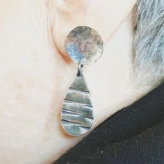 Leslie made these lovely drop earrings with a stud back in the Design Your Own Silver Earrings Workshop today.