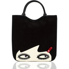 Black Doll Face Large Wanda Tote ($218) ❤ liked on Polyvore featuring bags, handbags, tote bags, bolsas, purses, accessories, man bag, lulu guinness tote, zippered tote and purse tote