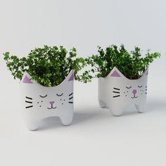 Plant with cat vases