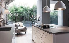 Nice grey kitchen with large windows