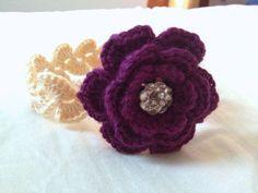 Baby Flower Headband - Baby Rose Headband - Baby Floral Headband - Photo Prop - Purple and Cream - 0-6 Months
