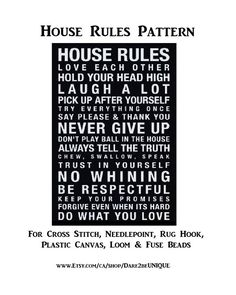 House Rules Cross Stitch PATTERN, Rug Hooking Patterns, Plastic Canvas Needlepoint Tapestry, Crochet & Perler Pattern, DIGITAL Printable Pdf by Dare2beUNIQUE on Etsy Rug Hooking Patterns, Crochet Blanket Patterns, Cross Stitch Needles, Cross Stitch Patterns, Laugh A Lot, Simple Prints, House Rules, Perler Patterns, Tapestry Crochet
