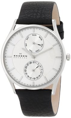 Skagen Men's SKW6065 Holst Stainless Steel Watch with Black Leather Band *** More info could be found at the image url.