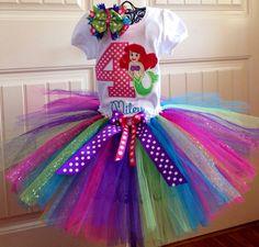 Screams Hannah!!!Disney princess little mermaid tutu set by Gracynsbowtique on Etsy, $50.00