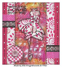 Made by Alie Hoogenboezem-de Vries with gelli plate print, scrappaper, Dylusions Couture Collection stamp, washi tapes