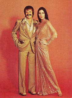 Cher with her husband at the time Sonny Bono in a promotional image for The Sonny and Cher Show