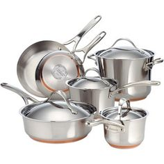 @Overstock - Use this nonstick stainless-steel cookware set to prepare your meals. Made with copper for optimal heat control, this 10-piece set includes skillets, pots, and pans that have riveted handles and are safe for use ovens heated up to 500 degrees.http://www.overstock.com/Home-Garden/Anolon-Nouvelle-Copper-Stainless-Steel-10-piece-Cookware-Set/6