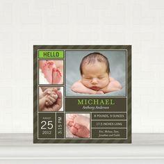 Striped Collage: Kiwi - Boy Photo Birth Announcements in Kiwi   Fine Moments