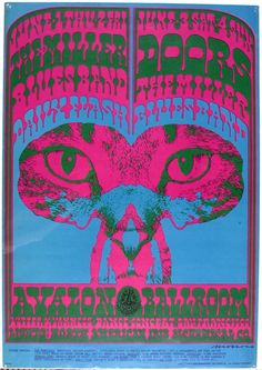 psychedelic-sixties: The Steve Miller Blues Band/The Doors/The Daily Flash, June 1967 - Avalon Ballroom (San Francisco, CA) Art by Victor Moscoso. Hippie Posters, Rock Posters, Band Posters, Psychedelic Rock, Psychedelic Posters, Retro Poster, Vintage Posters, Blues Rock, New Age
