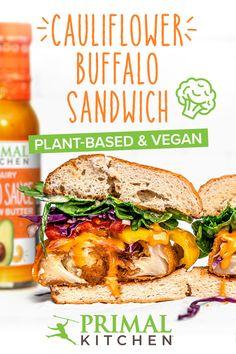Vegan Buffalo Cauliflower, Cauliflower Recipes, Vegan Scalloped Potatoes, Gluten Free Buns, Primal Kitchen, Veggie Dinner, Vegetarian Breakfast, Vegetarian Options, Meatless Monday