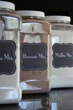 Make your own mixes and store in the pantry to use when needed! Brownies, muffin, bisquick, pancakes/waffles, corn bread