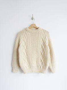 Cream Fisherman Sweater // Vintage 1980's Aran Sweater SOLD