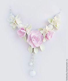 Купить в е с н а... маленькое цветочное колье из термопластики - комплект украшений, украшение с цветами