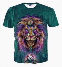 3D-Print-Women-Men-Summer-Animals-Mystical-Short-Sleeve-T-shirt-Hiphop-Round-Top