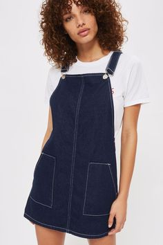 MOTO Contrast Stitch Denim Pinafore Dress - New In Fashion - New In - Topshop Europe