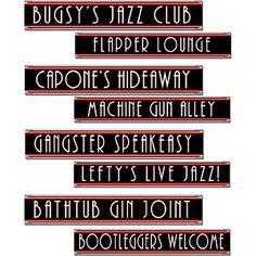 Jazz up your next party with these Gangster Street Sign Cutouts. Two different sides printed on 4 different street signs mean these would suit being hung from the ceiling or stuck to the wall. Match with our other party accessories for Roaring Twenties Party, Roaring 20s Theme, Gangster Party, Gangster Wedding, Gatsby Wedding, Dream Wedding, Prohibition Party, Speakeasy Party, 1920s Speakeasy