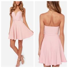 Sweetheart Dress! So pretty! Blush Peach color strapless dress! 100% polyester. Back zipper closure. Girly! Textured material. Chest is 14.5 ' , length is 28' trades. Dresses Strapless