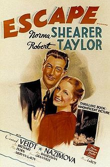 Escape is a 1940 drama film about an American in pre-World War II Nazi Germany who discovers his mother is in a concentration camp and tries desperately to free her. It starred Norma Shearer, Robert Taylor, Conrad Veidt and Alla Nazimova. It was adapted from the novel of the same name by Grace Zaring Stone.